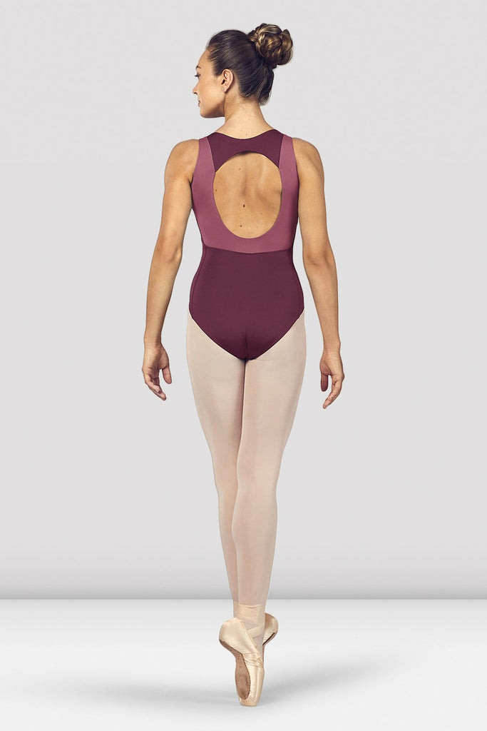 Dewberry Bloch Ladies Esrah Open Back Tank Leotard on female model en pointe in fifth position facing back