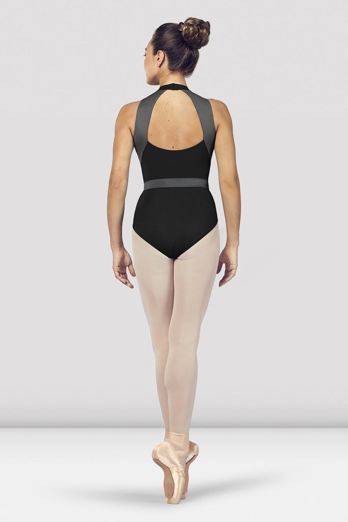 Black Bloch Ladies Alia Halter Neck Open Back Leotard on female model en point ein fifth position facing back