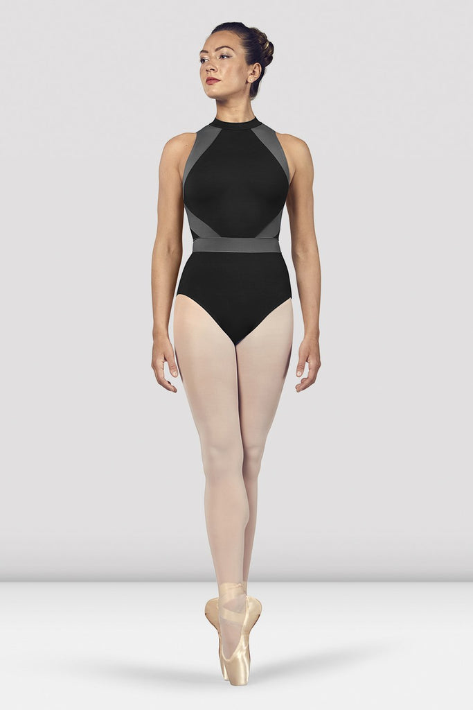Black Bloch Ladies Alia Halter Neck Open Back Leotard on female model en point ein fifth position