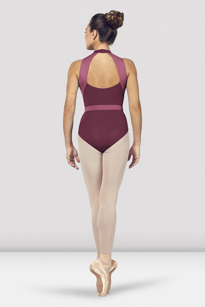 Dewberry Bloch Ladies Alia Halter Neck Open Back Leotard on female model en point ein fifth position facing back