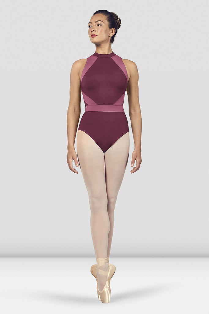 Dewberry Bloch Ladies Alia Halter Neck Open Back Leotard on female model en point ein fifth position