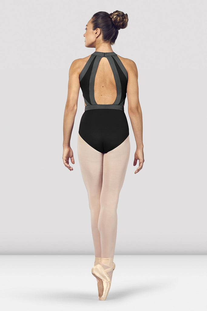 Black Bloch Ladies Shreya Halter Neck Open Back Leotard on female model en point ein fifth position facing back