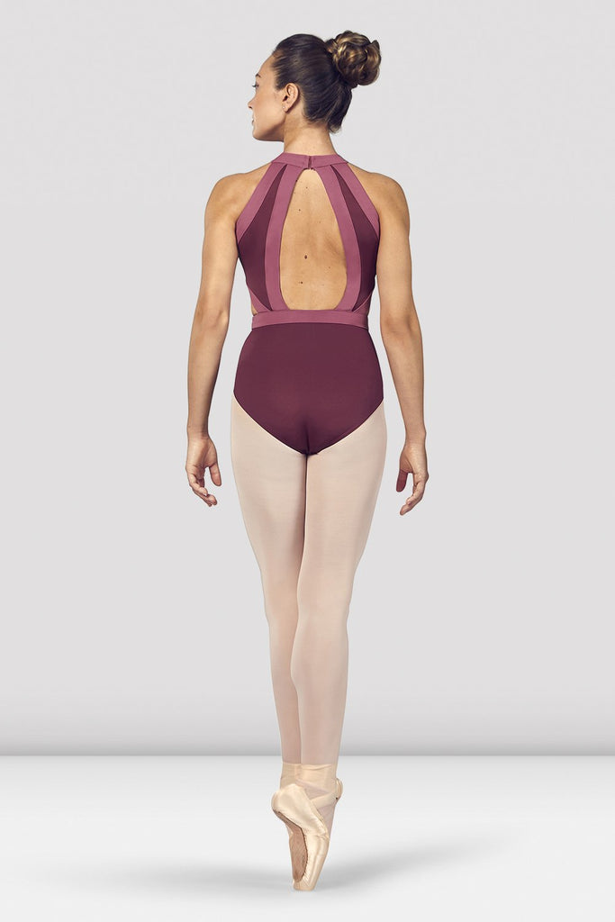 Dewberry Bloch Ladies Shreya Halter Neck Open Back Leotard on female model en point ein fifth position facing back