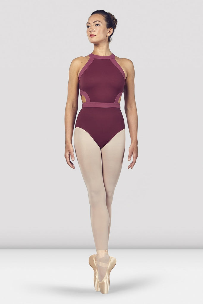 Dewberry Bloch Ladies Shreya Halter Neck Open Back Leotard on female model en point ein fifth position