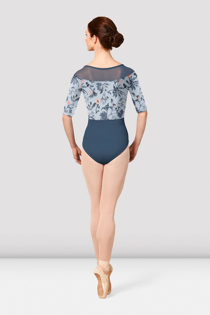 Ladies Mirella Jasmine Print Boat Neckline Leotard - BLOCH US