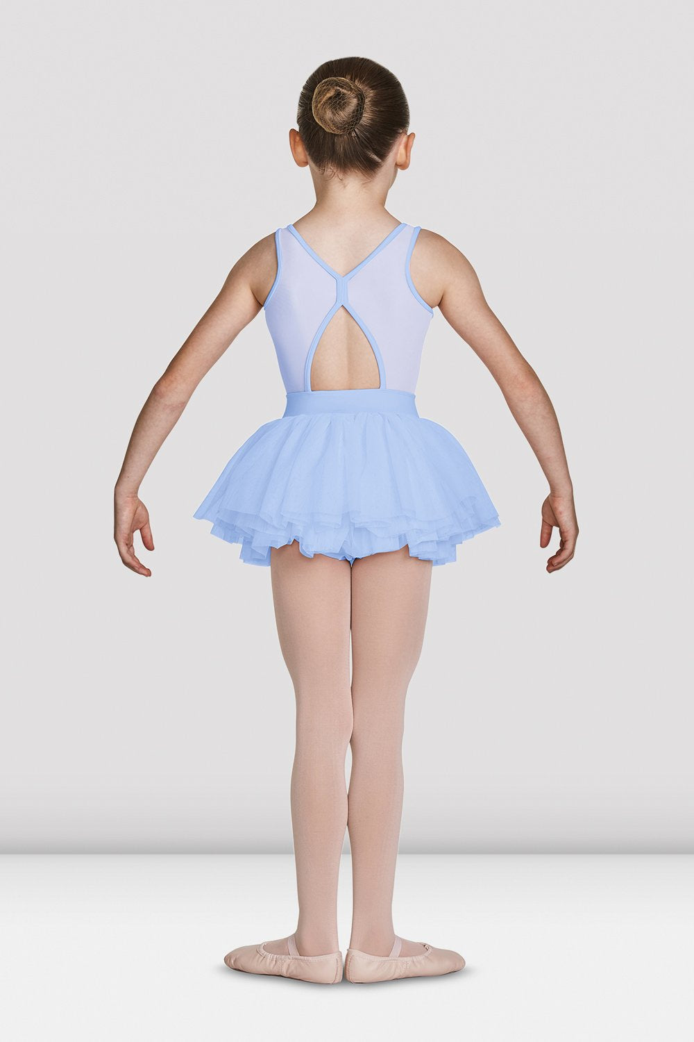 Blue Bloch Girls Mesh Bodice Tank Tutu Leotard on female model feet in first position with arms in demi bras facing back