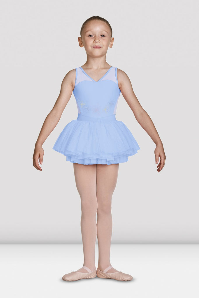 Blue Bloch Girls Mesh Bodice Tank Tutu Leotard on female model feet in first position with arms in demi bras