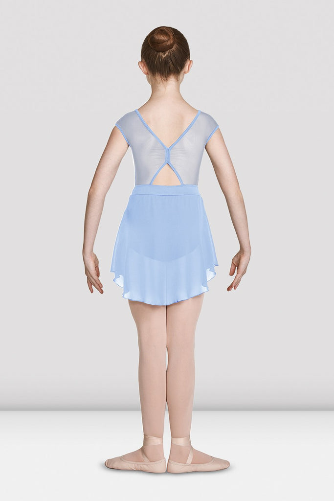 Blue Bloch Girls Mesh Bodice Cap Sleeve Skirted Leotard on female model feet in first position with arms in demi bras facing back