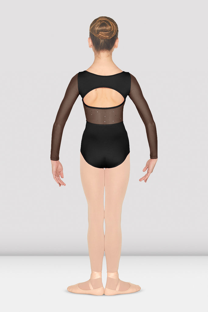 Girls Mirella Mesh Open Back Long Sleeve Leotard - BLOCH US