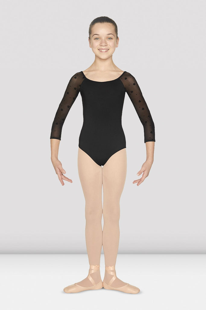 Girls Scoop Neck Heart Flock Leotard - BLOCH US