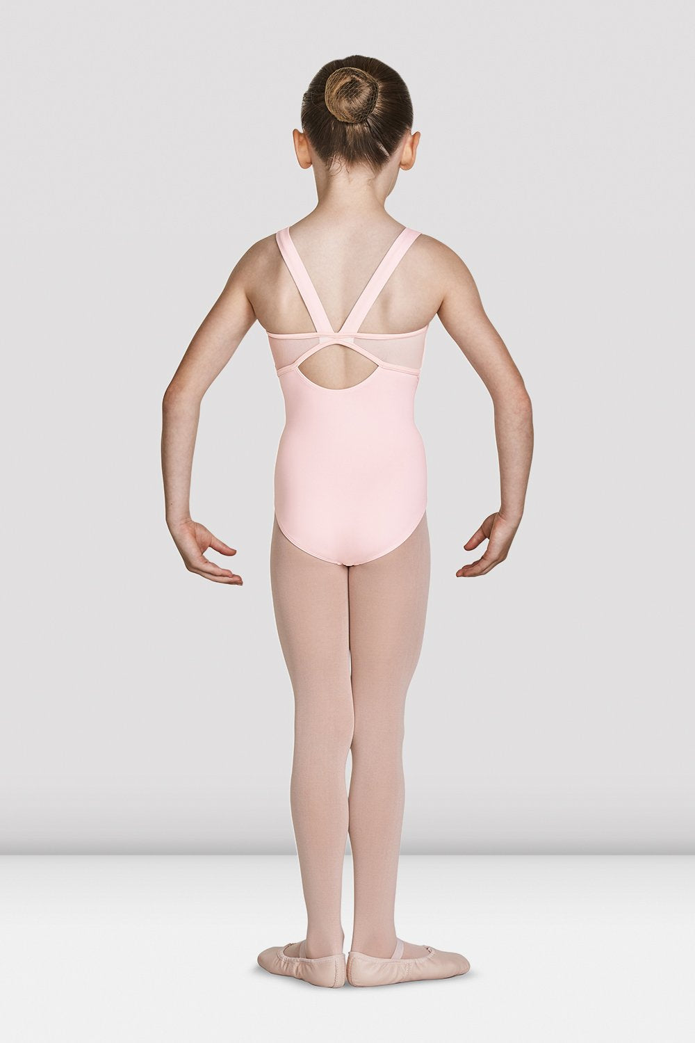 Pink Bloch Girls Open Back Camisole Leotard on female model feet in first position with arms in demi bras facing the back