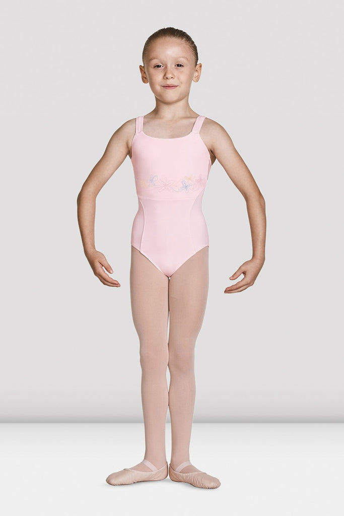 Pink Bloch Girls Open Back Camisole Leotard on female model feet in first position with arms in demi bras