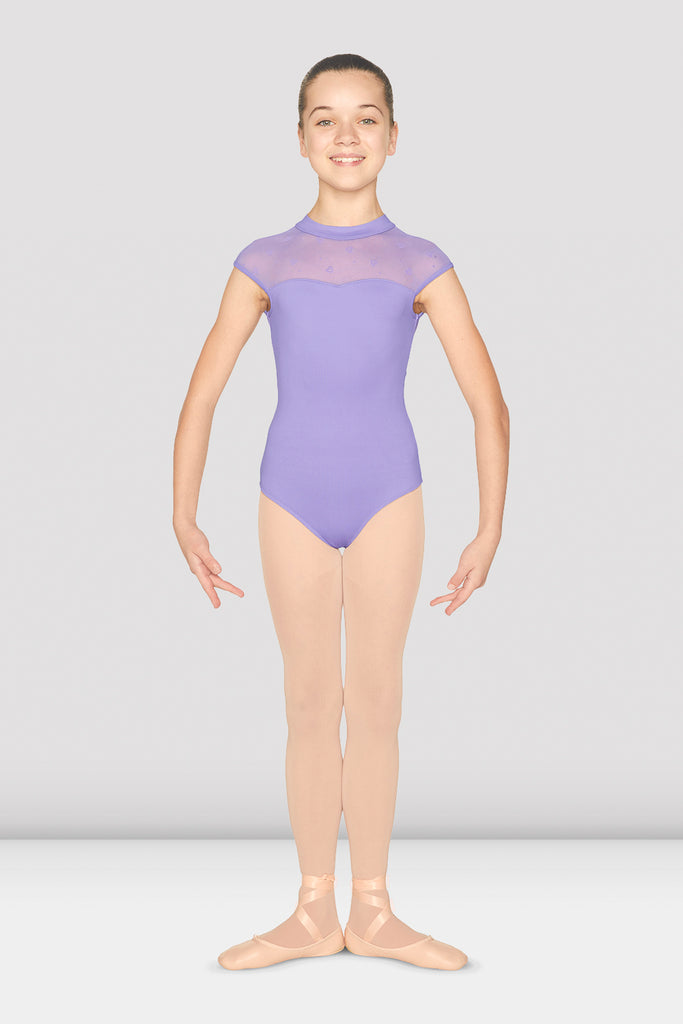 Girls Mirella Heart Flock Open Back Leotard - BLOCH US