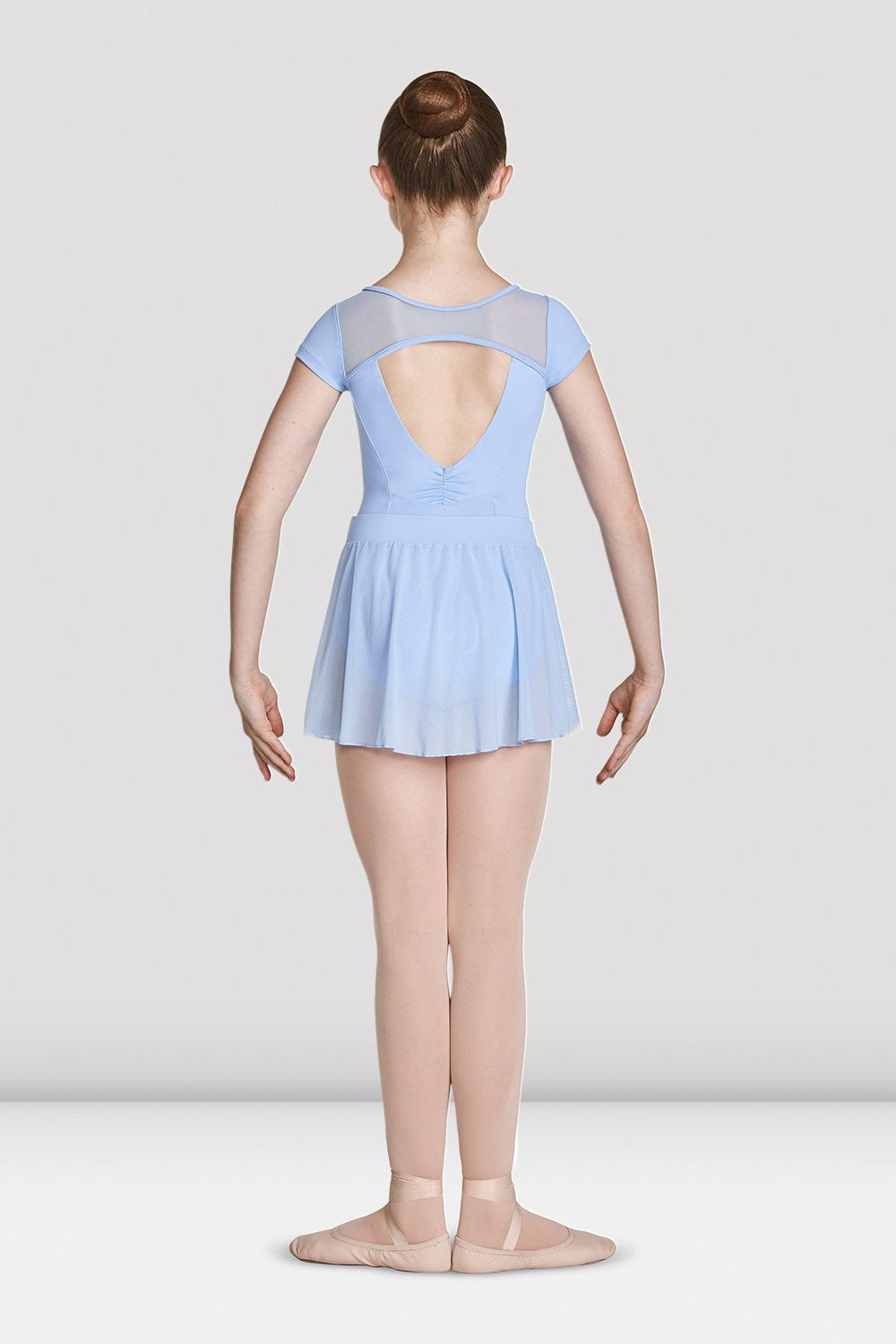 Blue Bloch Girls High Neckline Open Back Cap Sleeve Leotard on female model feet in first position with arms in bra bas facing back