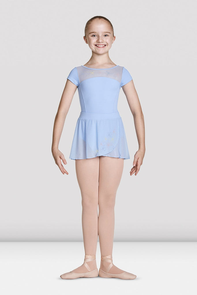 Blue Bloch Girls High Neckline Open Back Cap Sleeve Leotard on female model feet in first position with arms in bra bas