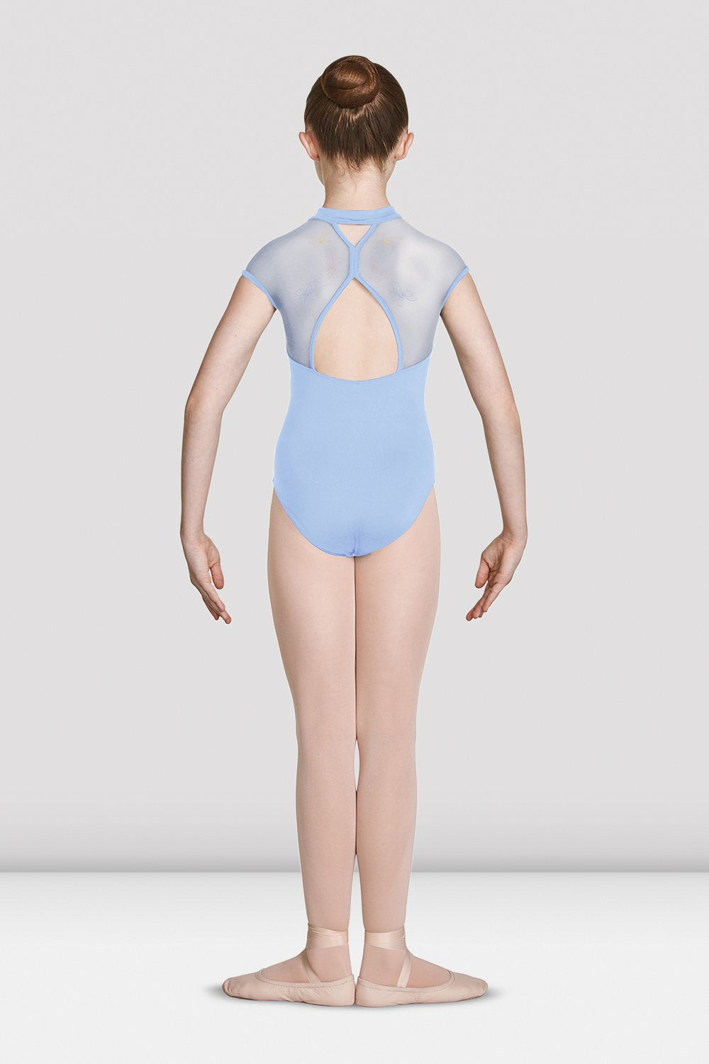 Blue Bloch Girls High Zip Neckline Open Back Cap Sleeve Leotard on female model feet in first position with arms in demi bra facing back
