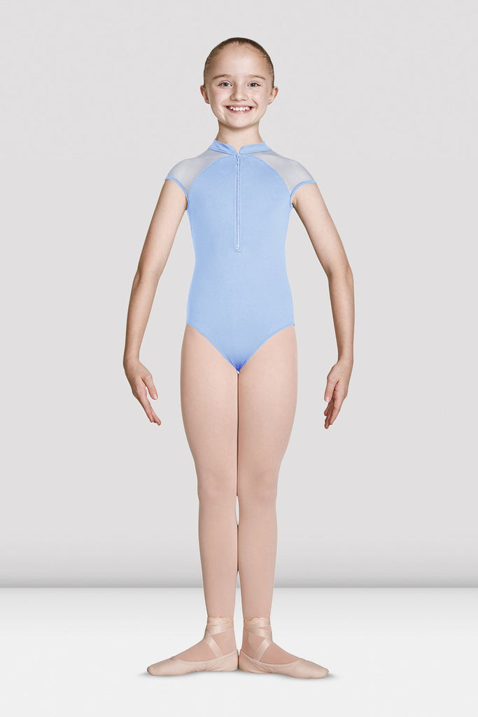 Blue Bloch Girls High Zip Neckline Open Back Cap Sleeve Leotard on female model feet in first position with arms in demi bra