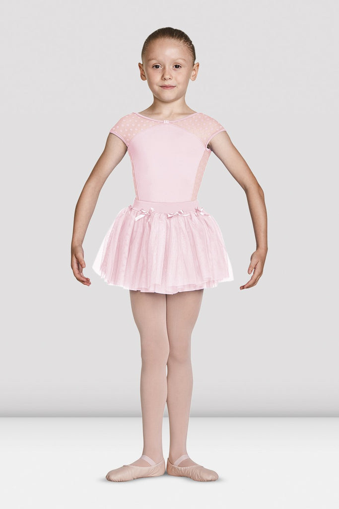 Girls Mirella Diamante Detail Bow Neckline Cap Sleeve Leotard - BLOCH US