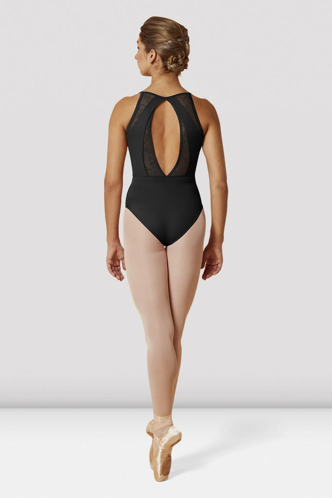 Black Bloch Ladies Open Back Lace Camisole Leotard on female model en pointe in fifth position facing back