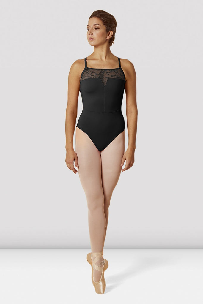 Black Bloch Ladies Open Back Lace Camisole Leotard on female model en pointe in fifth position