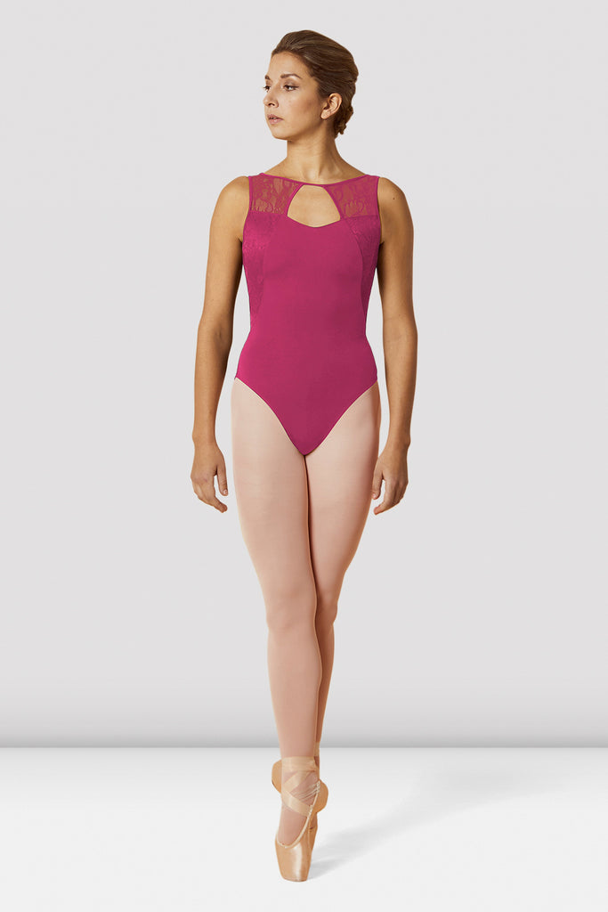 Tulip Bloch Ladies Open Back Lace Mesh Tank Leotard floral detail on back on female model en pointe in fifth position