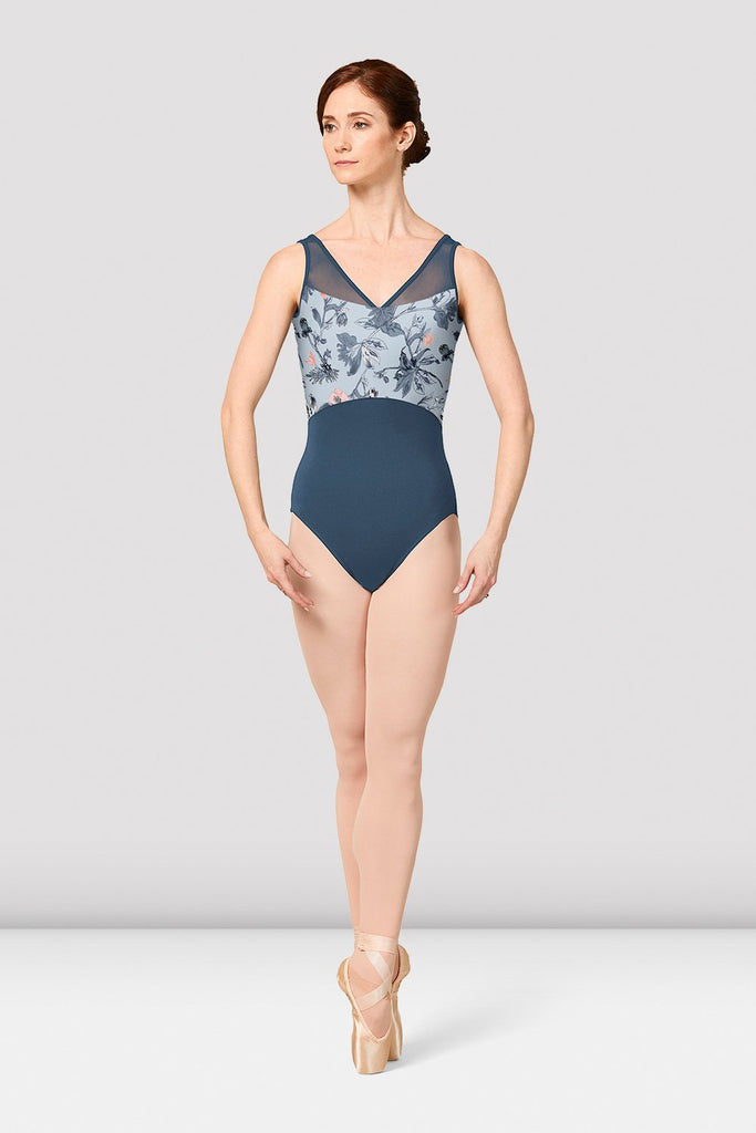 Girls Mirella Jasmine Print V-Neck Leotard - BLOCH US