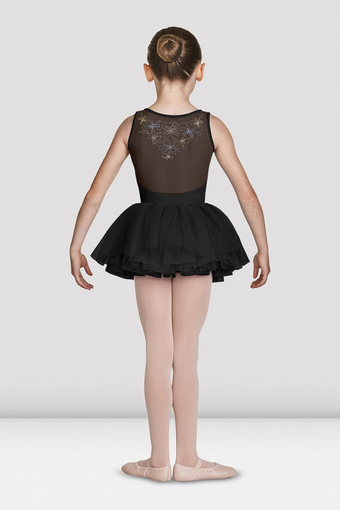 Black Bloch Girls Soft Gathered Neckline Tank Leotard on female model feet in first position arms in demi bra facing back