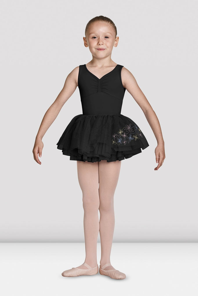 Black Bloch Girls Soft Gathered Neckline Tank Leotard on female model feet in first position arms in demi bra