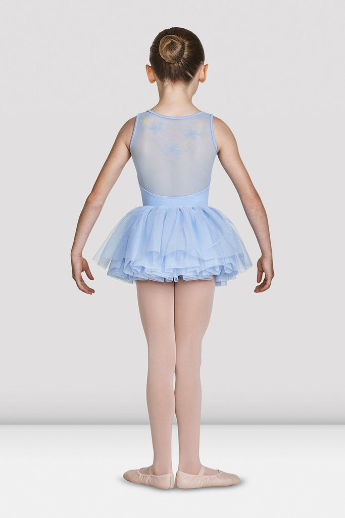 Blue Bloch Girls Soft Gathered Neckline Tank Leotard on female model feet in first position arms in demi bra facing back