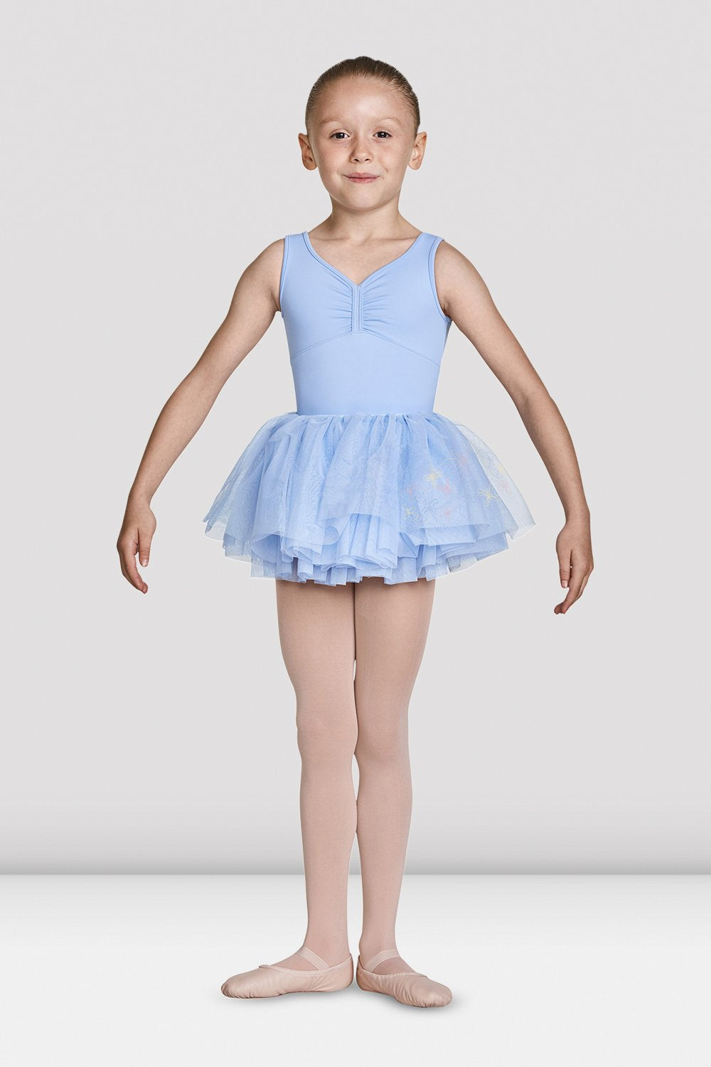 Blue Bloch Girls Soft Gathered Neckline Tank Leotard on female model feet in first position arms in demi bra