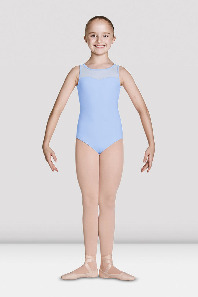 Blue Bloch Girls Open Back Sweetheart Tank Leotard on female model feet in first position with arms in demi bras