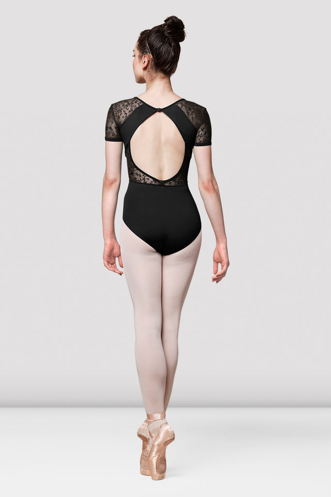 Ladies Mirella Olivina Lace V Neck Cap Sleeve Leotard - BLOCH US