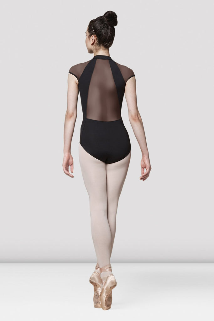 Ladies Mirella Zip Front Plain Mesh Back Leotard - BLOCH US