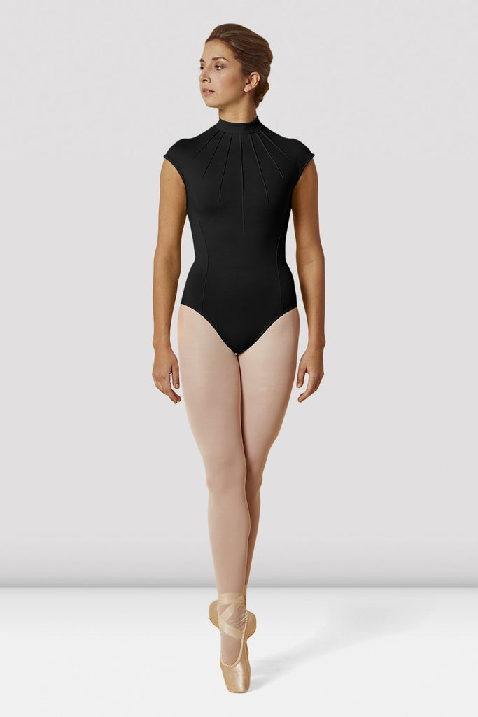 Black Bloch Ladies High Neckline Lace Mesh Zip Back Cap Sleeve Leotard on female model en pointe in fifth position