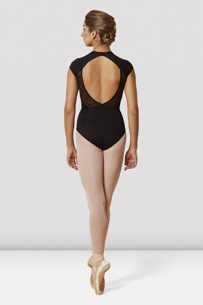 Black Bloch Ladies High Neckline Lace Open Back Cap Sleeve Leotard on female model en pointe in fifth position facing back