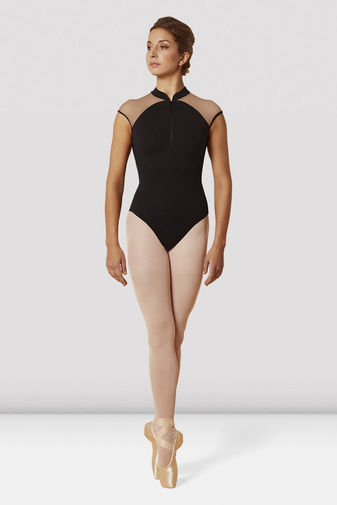 Ladies Mirella Zip Front High Neck Cap Sleeve Leotard - BLOCH US