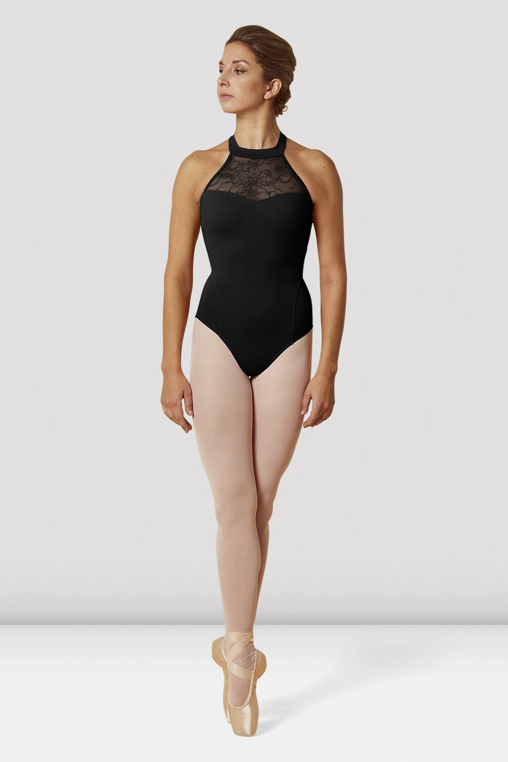 Black Bloch Ladies Lace Bodice Halter Neck Leotard on female model en pointe in fifth position