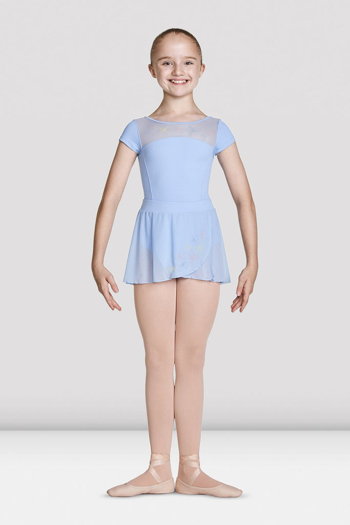 Blue Bloch Girls Embroidered Mesh Wrap Skirt on female model feet in first position with arms in bra bas