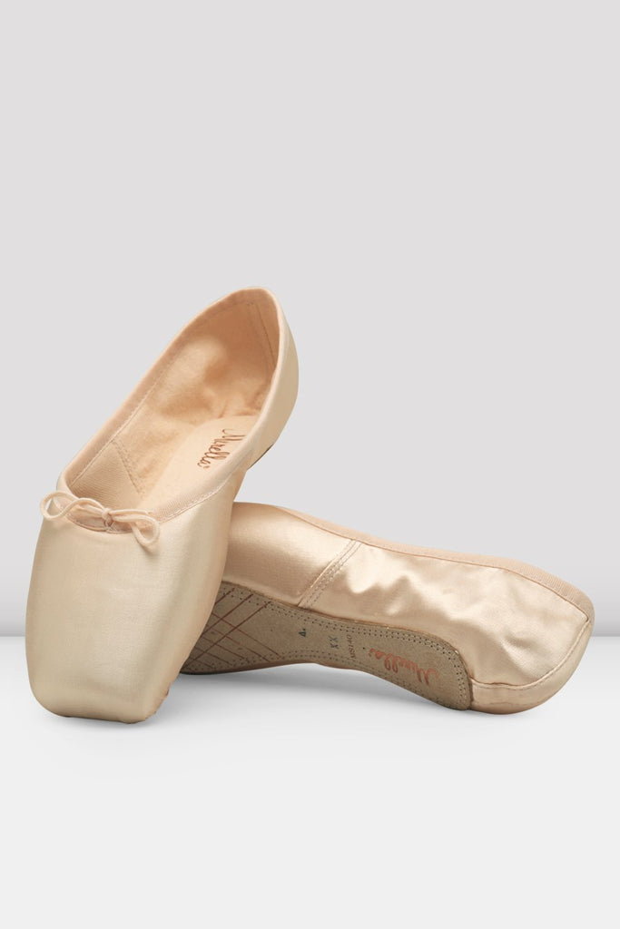 Pink satin Bloch Mirella Whisper Pointe Shoes flatlay pair of shoes