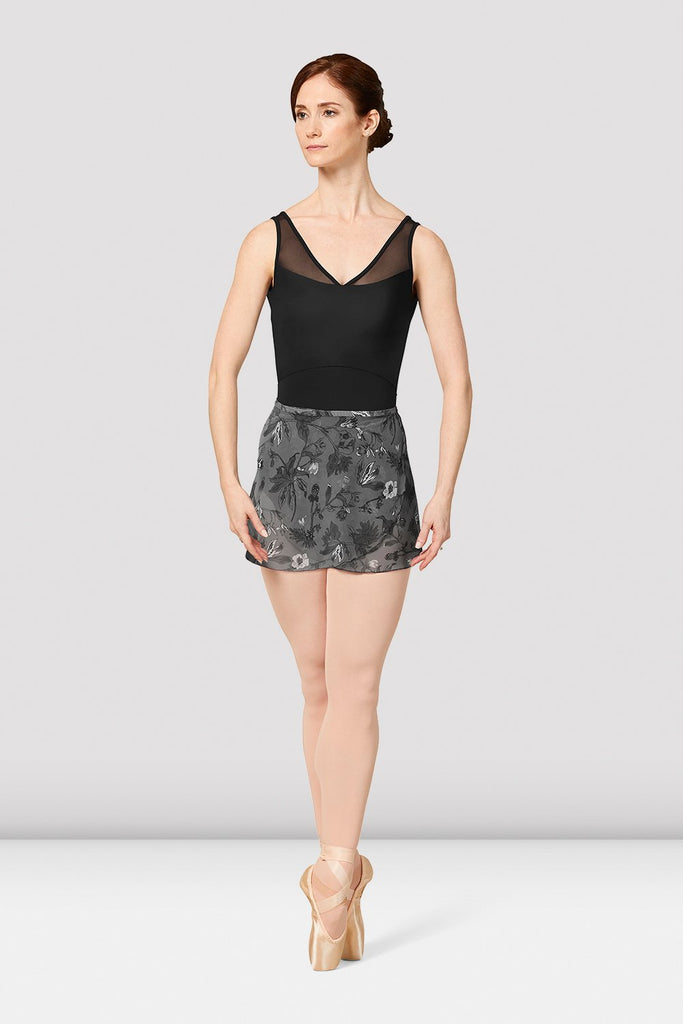 Ladies Mirella Jasmine Print Mesh Wrap Skirt - BLOCH US