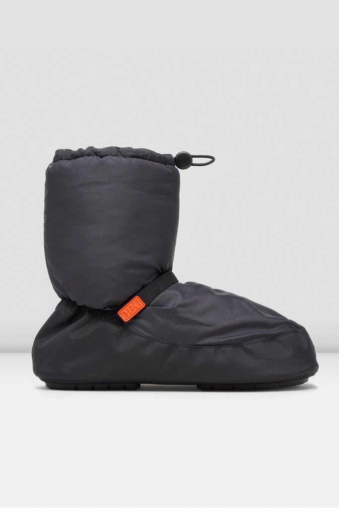 Black nylon Bloch Multi-function Warm Up Booties single shoe side view