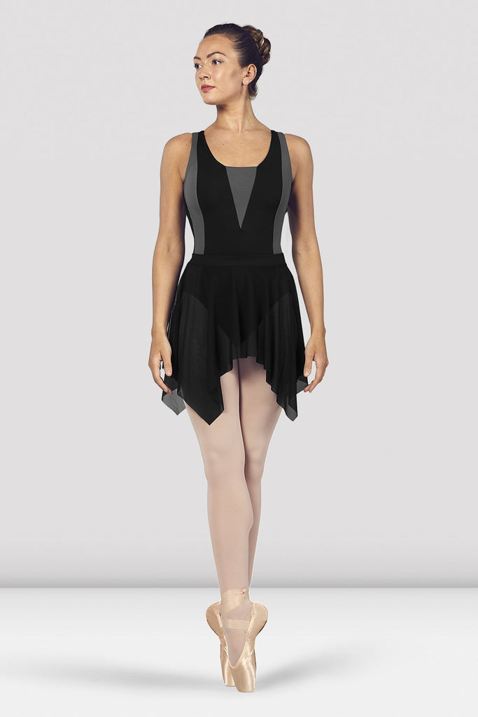 Black Bloch Ladies Fayre Uneven Hem Mesh Skirt on female model en point ein fifth position