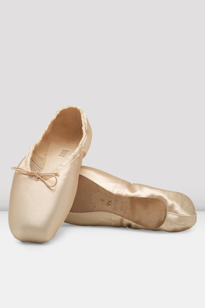 Pink satin Bloch Amelie Soft Pointe Shoes flatlay pair of shoes