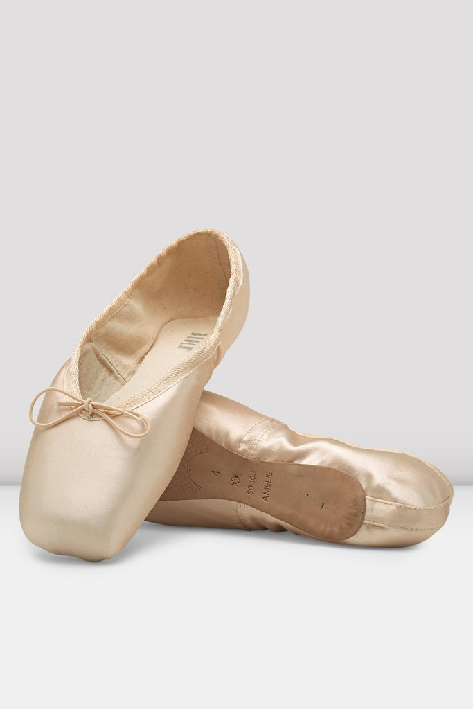 Pink satin Bloch Amelie Pointe Shoes flatlay pair of shoes