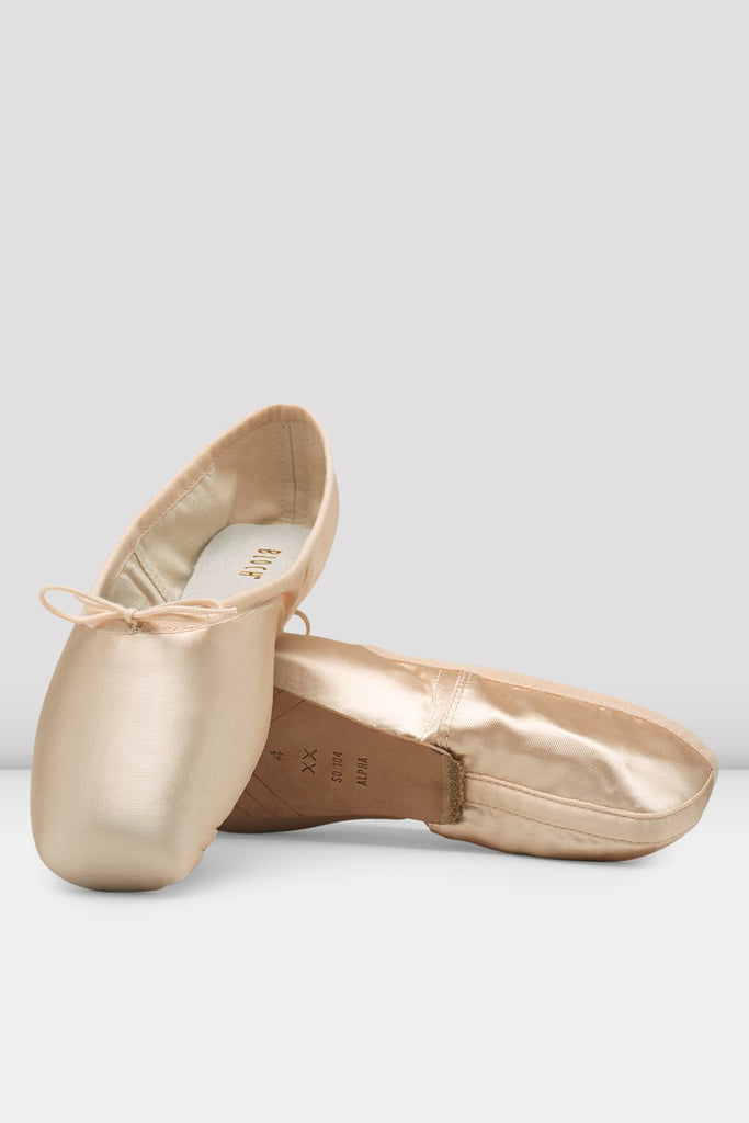Pink satin Bloch Alpha Pointe Shoes flatlay pair of shoes showing 3/4 outsole
