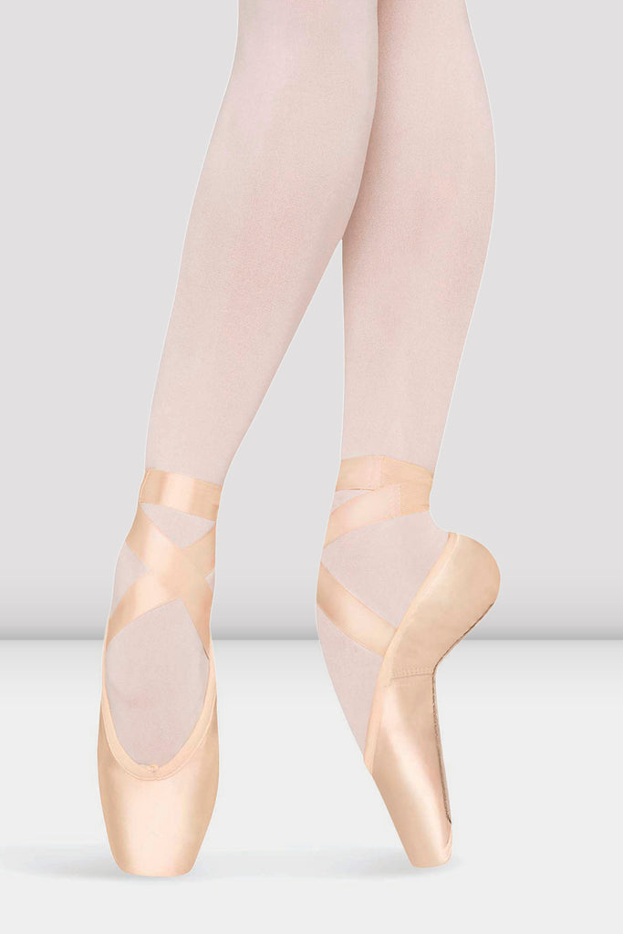 Pink Satin Bloch Axiom Strong Pointe Shoes on foot in fourth position en pointe