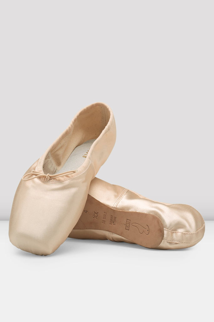 Pink satin Bloch Hannah Pointe Shoes flatlay pair of shoes