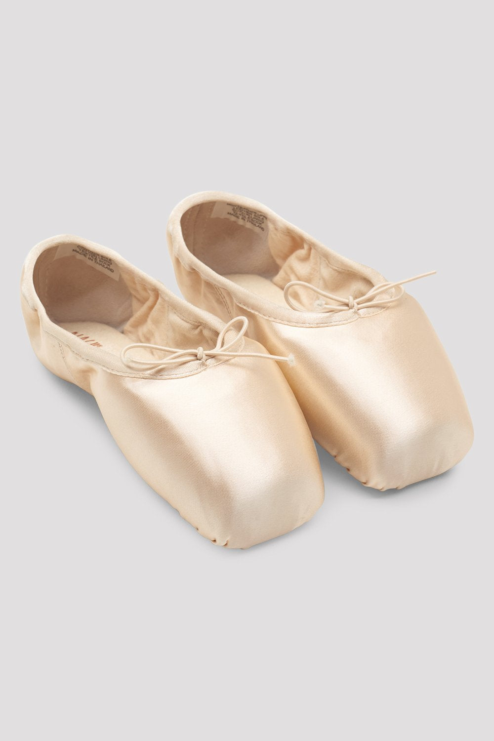 Pink Satin Bloch Eurostretch Pointe Shoes flatlay pair of shoes
