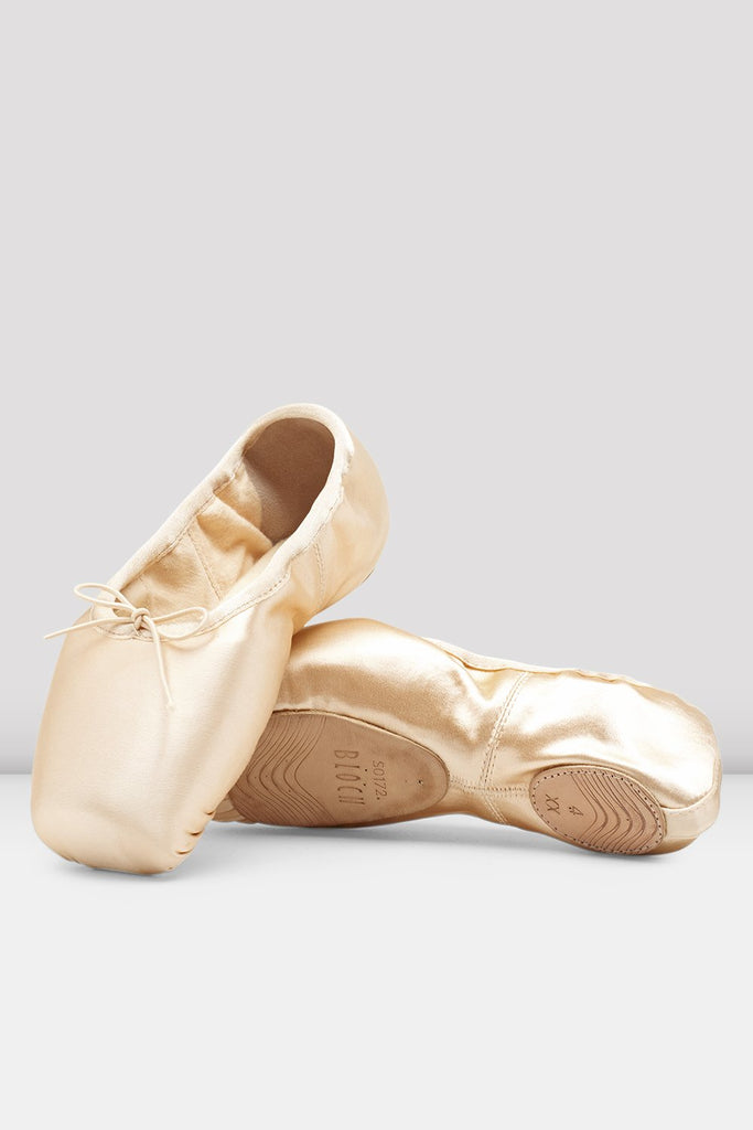 Pink Satin Bloch Eurostretch Pointd Shoes flatlay pair of shoes