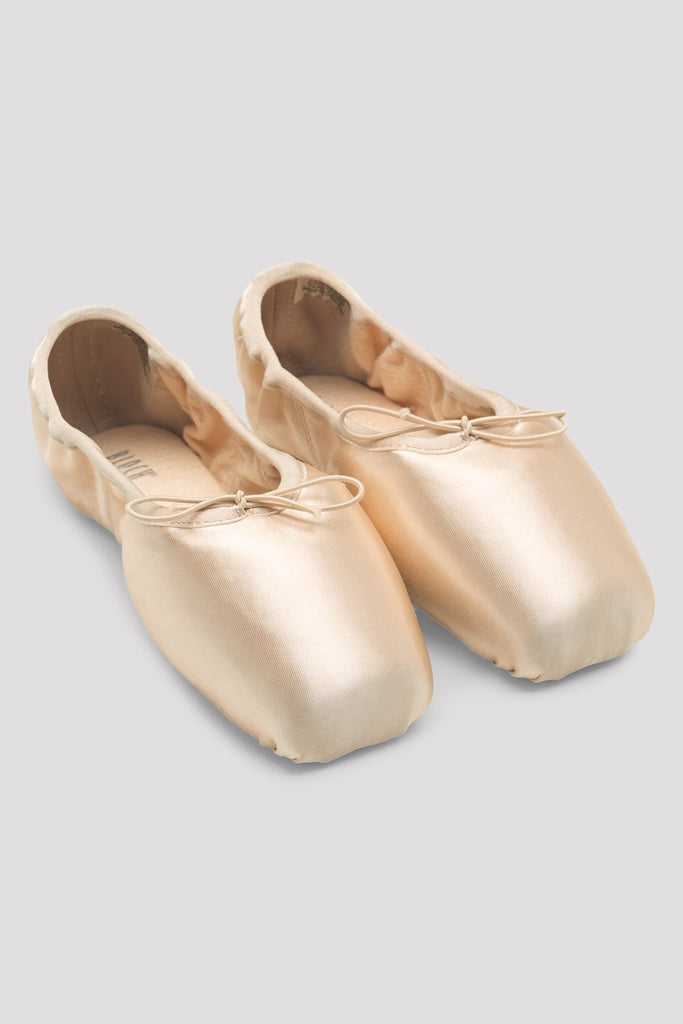 Pink Satin Bloch Superlative Stretch Pointe Shoes pair of shoes